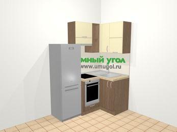 Угловая кухня МДФ матовый в современном стиле 5,0 м², 160 на 100 см, Ваниль / Лиственница бронзовая, верхние модули 72 см, встроенный духовой шкаф, холодильник