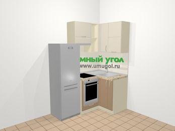 Угловая кухня МДФ матовый в современном стиле 5,0 м², 160 на 100 см, Керамик / Кофе, верхние модули 72 см, встроенный духовой шкаф, холодильник