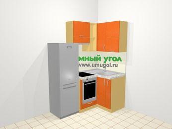 Угловая кухня МДФ металлик в современном стиле 5,0 м², 160 на 100 см, Оранжевый металлик, верхние модули 72 см, встроенный духовой шкаф, холодильник