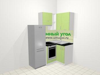 Угловая кухня МДФ металлик в современном стиле 5,0 м², 160 на 100 см, Салатовый металлик, верхние модули 72 см, встроенный духовой шкаф, холодильник