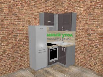 Угловая кухня МДФ глянец в стиле лофт 5,0 м², 160 на 100 см, Шоколад, верхние модули 72 см, встроенный духовой шкаф, холодильник