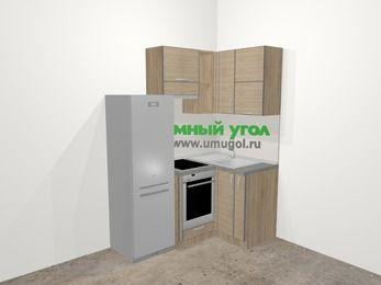 Кухни пластиковые угловые в стиле лофт 5,0 м², 160 на 100 см, Чибли бежевый, верхние модули 72 см, встроенный духовой шкаф, холодильник