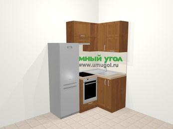 Угловая кухня из рамочного МДФ 5,0 м², 160 на 100 см, Орех, верхние модули 72 см, встроенный духовой шкаф, холодильник