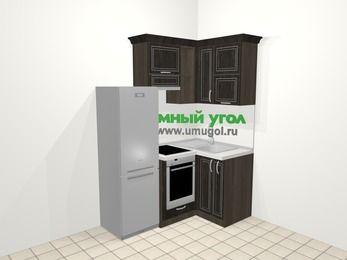 Угловая кухня МДФ патина в классическом стиле 5,0 м², 160 на 100 см, Венге, верхние модули 72 см, встроенный духовой шкаф, холодильник