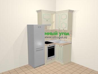 Угловая кухня МДФ патина в стиле прованс 5,0 м², 160 на 100 см, Керамик, верхние модули 72 см, встроенный духовой шкаф, холодильник
