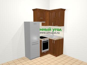 Угловая кухня из массива дерева в классическом стиле 5,0 м², 160 на 100 см, Темно-коричневые оттенки, верхние модули 72 см, встроенный духовой шкаф, холодильник