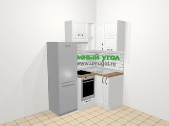 Угловая кухня из массива дерева в скандинавском стиле 5,0 м², 160 на 100 см, Белые оттенки, верхние модули 72 см, встроенный духовой шкаф, холодильник