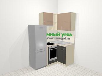 Угловая кухня из ЛДСП EGGER 5,0 м², 160 на 100 см, Бежевый / Трюфель, верхние модули 72 см, встроенный духовой шкаф, холодильник