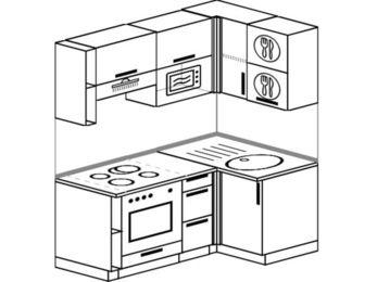 Угловая кухня 5,0 м² (1,6✕1,0 м), верхние модули 72 см, верхний модуль под свч, встроенный духовой шкаф