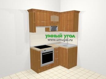 Угловая кухня МДФ матовый в классическом стиле 5,0 м², 160 на 100 см, Вишня, верхние модули 72 см, верхний модуль под свч, встроенный духовой шкаф