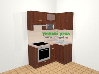 Угловая кухня МДФ матовый в классическом стиле 5,0 м², 160 на 100 см, Вишня темная, верхние модули 72 см, верхний модуль под свч, встроенный духовой шкаф