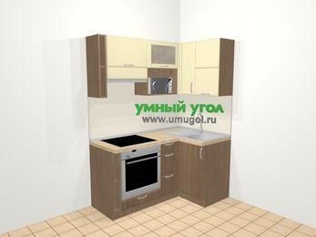 Угловая кухня МДФ матовый в современном стиле 5,0 м², 160 на 100 см, Ваниль / Лиственница бронзовая, верхние модули 72 см, верхний модуль под свч, встроенный духовой шкаф