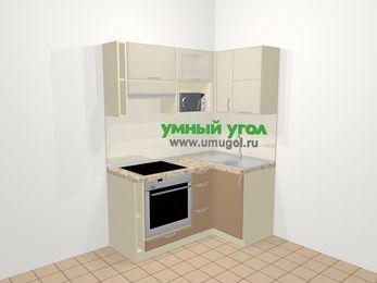 Угловая кухня МДФ матовый в современном стиле 5,0 м², 160 на 100 см, Керамик / Кофе, верхние модули 72 см, верхний модуль под свч, встроенный духовой шкаф
