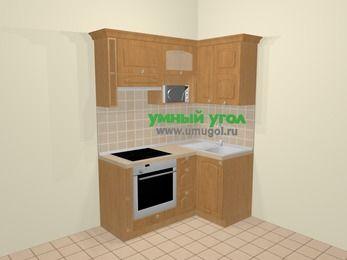 Угловая кухня МДФ матовый в стиле кантри 5,0 м², 160 на 100 см, Ольха, верхние модули 72 см, верхний модуль под свч, встроенный духовой шкаф