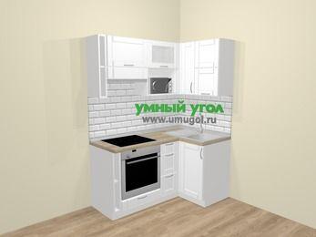 Угловая кухня МДФ матовый  в скандинавском стиле 5,0 м², 160 на 100 см, Белый, верхние модули 72 см, верхний модуль под свч, встроенный духовой шкаф