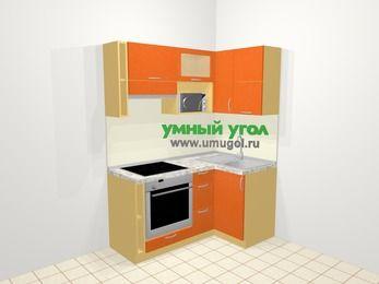 Угловая кухня МДФ металлик в современном стиле 5,0 м², 160 на 100 см, Оранжевый металлик, верхние модули 72 см, верхний модуль под свч, встроенный духовой шкаф