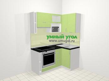 Угловая кухня МДФ металлик в современном стиле 5,0 м², 160 на 100 см, Салатовый металлик, верхние модули 72 см, верхний модуль под свч, встроенный духовой шкаф