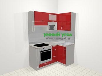 Угловая кухня МДФ глянец в современном стиле 5,0 м², 160 на 100 см, Красный, верхние модули 72 см, верхний модуль под свч, встроенный духовой шкаф