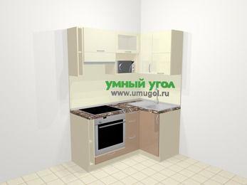 Угловая кухня МДФ глянец в современном стиле 5,0 м², 160 на 100 см, Жасмин / Капучино, верхние модули 72 см, верхний модуль под свч, встроенный духовой шкаф
