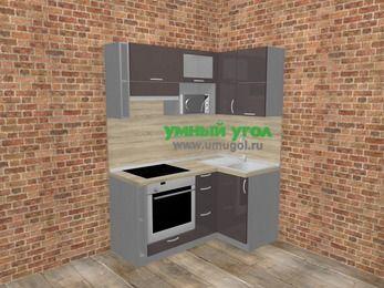 Угловая кухня МДФ глянец в стиле лофт 5,0 м², 160 на 100 см, Шоколад, верхние модули 72 см, верхний модуль под свч, встроенный духовой шкаф