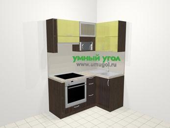 Кухни пластиковые угловые в современном стиле 5,0 м², 160 на 100 см, Желтый Галлион глянец / Дерево Мокка, верхние модули 72 см, верхний модуль под свч, встроенный духовой шкаф