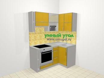 Кухни пластиковые угловые в современном стиле 5,0 м², 160 на 100 см, Желтый глянец, верхние модули 72 см, верхний модуль под свч, встроенный духовой шкаф