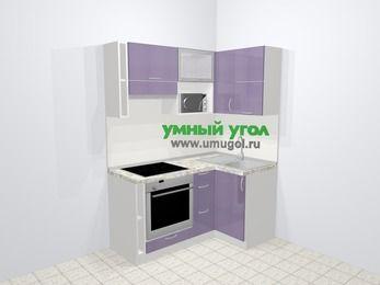 Кухни пластиковые угловые в современном стиле 5,0 м², 160 на 100 см, Сиреневый глянец, верхние модули 72 см, верхний модуль под свч, встроенный духовой шкаф