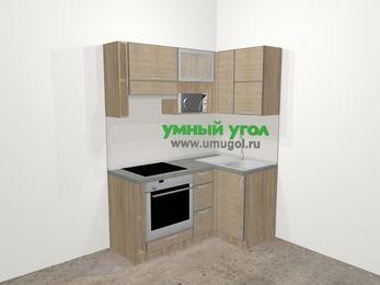 Кухни пластиковые угловые в стиле лофт 5,0 м², 160 на 100 см, Чибли бежевый, верхние модули 72 см, верхний модуль под свч, встроенный духовой шкаф