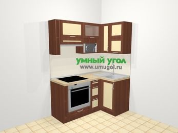 Угловая кухня из рамочного МДФ 5,0 м², 160 на 100 см, Вишня темная / Крем, верхние модули 72 см, верхний модуль под свч, встроенный духовой шкаф