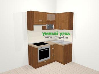 Угловая кухня из рамочного МДФ 5,0 м², 160 на 100 см, Орех, верхние модули 72 см, верхний модуль под свч, встроенный духовой шкаф