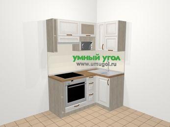 Угловая кухня МДФ патина в классическом стиле 5,0 м², 160 на 100 см, Лиственница белая, верхние модули 72 см, верхний модуль под свч, встроенный духовой шкаф