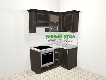 Угловая кухня МДФ патина в классическом стиле 5,0 м², 160 на 100 см, Венге, верхние модули 72 см, верхний модуль под свч, встроенный духовой шкаф