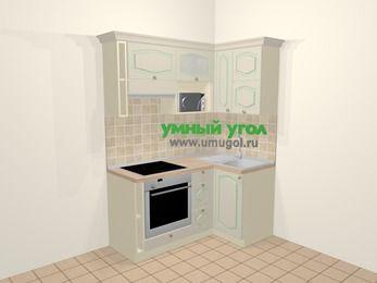 Угловая кухня МДФ патина в стиле прованс 5,0 м², 160 на 100 см, Керамик, верхние модули 72 см, верхний модуль под свч, встроенный духовой шкаф