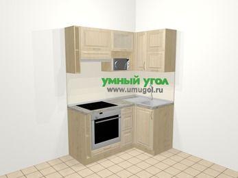 Угловая кухня из массива дерева в классическом стиле 5,0 м², 160 на 100 см, Светло-коричневые оттенки, верхние модули 72 см, верхний модуль под свч, встроенный духовой шкаф