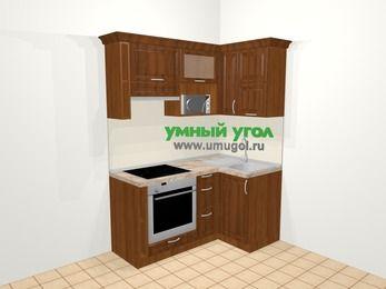 Угловая кухня из массива дерева в классическом стиле 5,0 м², 160 на 100 см, Темно-коричневые оттенки, верхние модули 72 см, верхний модуль под свч, встроенный духовой шкаф