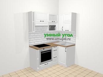 Угловая кухня из массива дерева в скандинавском стиле 5,0 м², 160 на 100 см, Белые оттенки, верхние модули 72 см, верхний модуль под свч, встроенный духовой шкаф