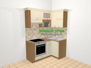 Угловая кухня из массива дерева в стиле кантри 5,0 м², 160 на 100 см, Бежевые оттенки, верхние модули 72 см, верхний модуль под свч, встроенный духовой шкаф