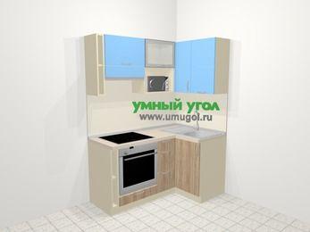 Угловая кухня из ЛДСП EGGER 5,0 м², 160 на 100 см, Голубой / Дуб, верхние модули 72 см, верхний модуль под свч, встроенный духовой шкаф