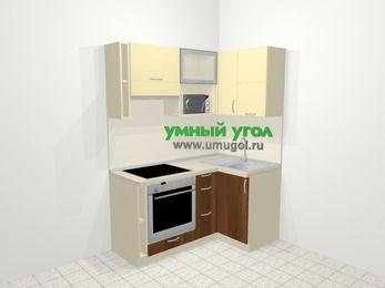 Угловая кухня из ЛДСП EGGER 5,0 м², 160 на 100 см, Ваниль / Орех, верхние модули 72 см, верхний модуль под свч, встроенный духовой шкаф
