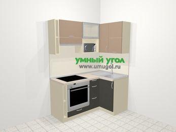 Угловая кухня из ЛДСП EGGER 5,0 м², 160 на 100 см, Бежевый / Трюфель, верхние модули 72 см, верхний модуль под свч, встроенный духовой шкаф