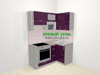 Угловая кухня МДФ глянец в современном стиле 5,0 м², 160 на 100 см, Баклажан, верхние модули 72 см, верхний модуль под свч, встроенный духовой шкаф