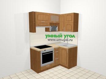 Угловая кухня МДФ патина в классическом стиле 5,0 м², 160 на 100 см, Ольха, верхние модули 72 см, верхний модуль под свч, встроенный духовой шкаф
