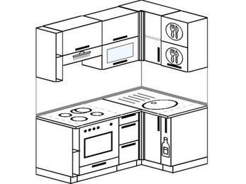 Угловая кухня 5,0 м² (1,6✕1,0 м), верхние модули 72 см, встроенный духовой шкаф