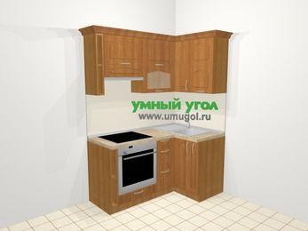 Угловая кухня МДФ матовый в классическом стиле 5,0 м², 160 на 100 см, Вишня, верхние модули 72 см, встроенный духовой шкаф