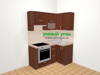 Угловая кухня МДФ матовый в классическом стиле 5,0 м², 160 на 100 см, Вишня темная, верхние модули 72 см, встроенный духовой шкаф