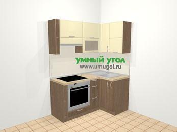 Угловая кухня МДФ матовый в современном стиле 5,0 м², 160 на 100 см, Ваниль / Лиственница бронзовая, верхние модули 72 см, встроенный духовой шкаф