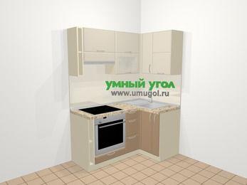 Угловая кухня МДФ матовый в современном стиле 5,0 м², 160 на 100 см, Керамик / Кофе, верхние модули 72 см, встроенный духовой шкаф