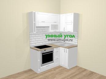 Угловая кухня МДФ матовый  в скандинавском стиле 5,0 м², 160 на 100 см, Белый, верхние модули 72 см, встроенный духовой шкаф