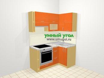 Угловая кухня МДФ металлик в современном стиле 5,0 м², 160 на 100 см, Оранжевый металлик, верхние модули 72 см, встроенный духовой шкаф