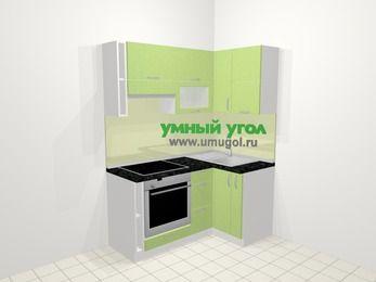 Угловая кухня МДФ металлик в современном стиле 5,0 м², 160 на 100 см, Салатовый металлик, верхние модули 72 см, встроенный духовой шкаф